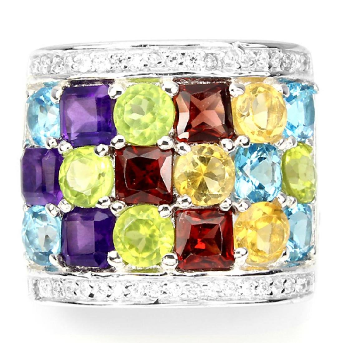Natural Multi Gemstone Ring - 2