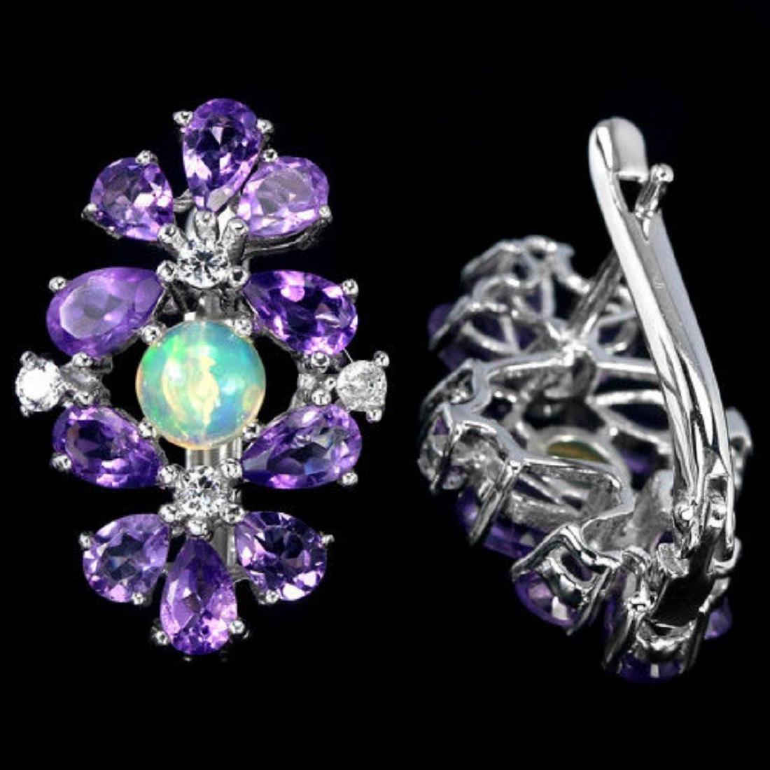 NATURAL AAA  OPAL & PURPLE AMETHYST Earrings - 2