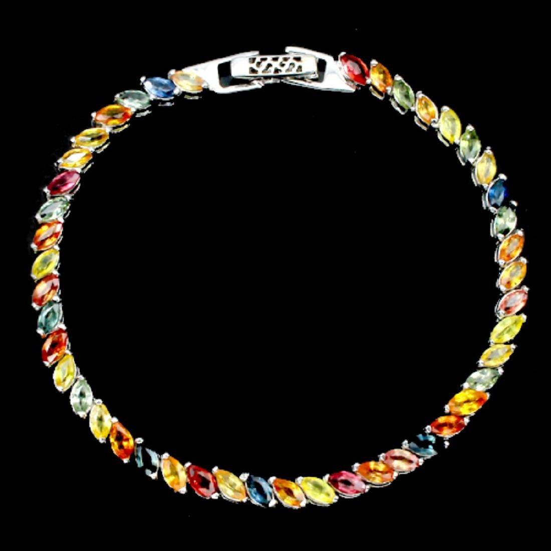 Natural Fancy Marquise Multi Color Sapphire Bracelet - 2