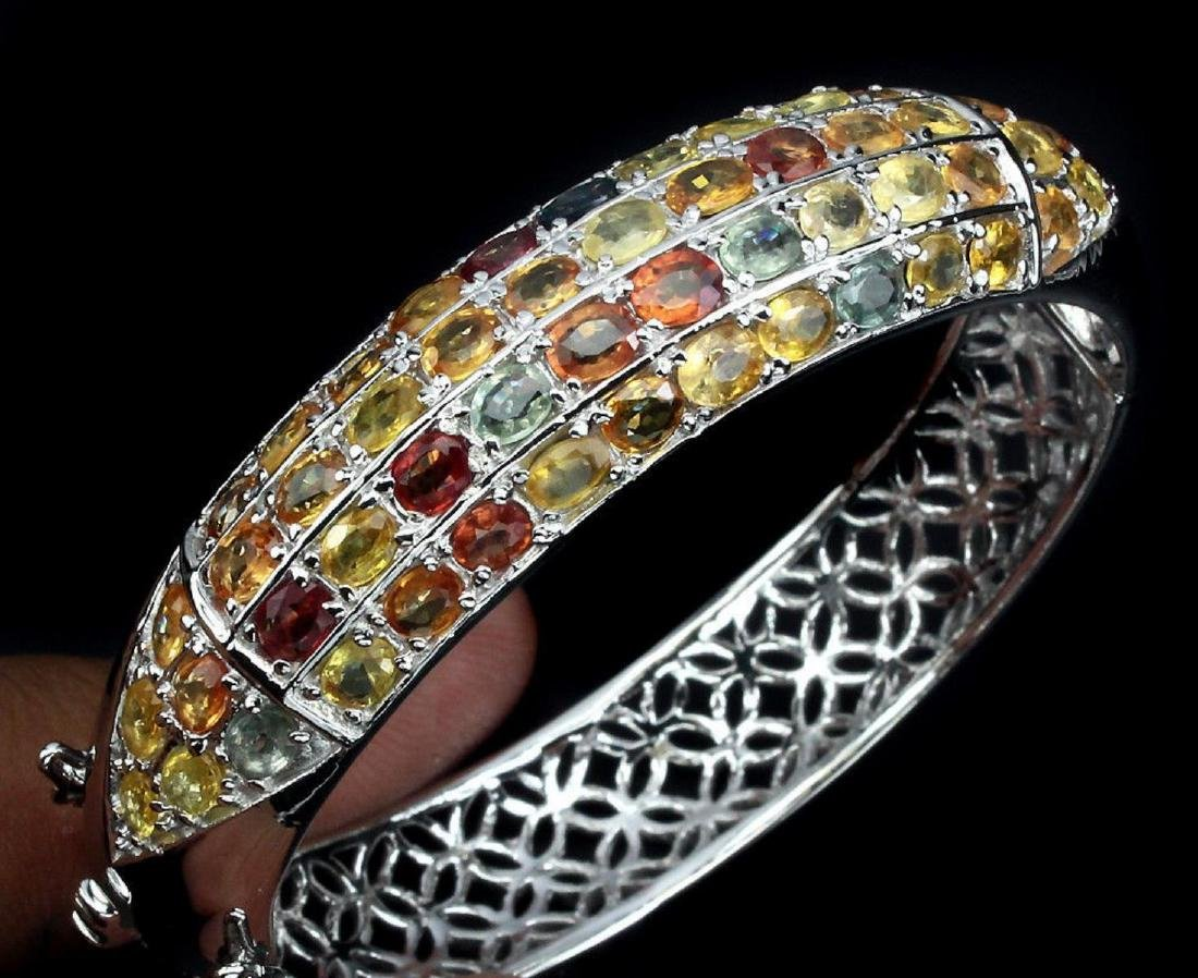 Natural Fancy Color Sapphire 163.14 Cts Bangle - 2