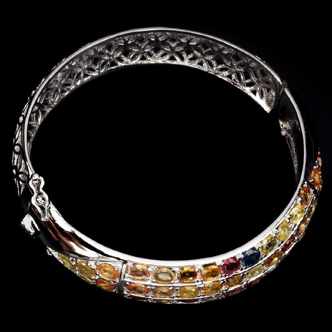 Natural Fancy Color Sapphire 163.14 Cts Bangle - 3