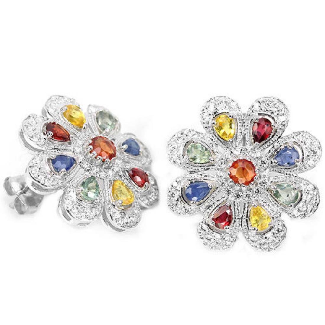 Natural Fancy Color Sapphire 41 Carats Earrings - 2