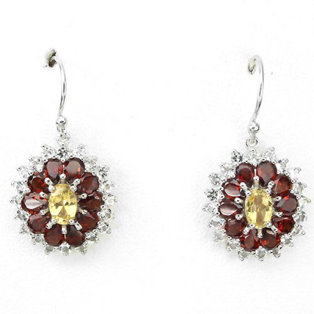 Natural Garnet & Citrine Earrings