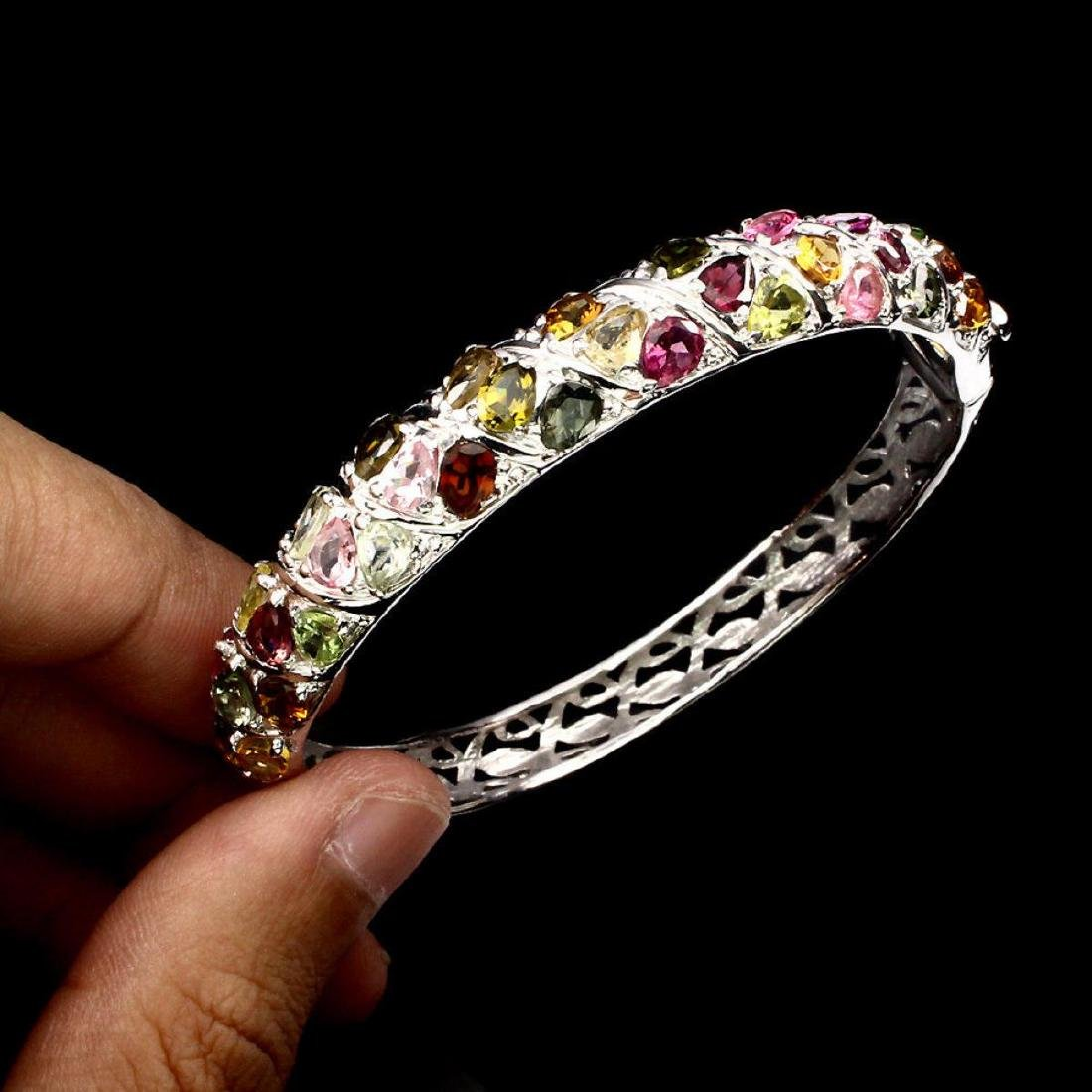 Natural op Fancy Color Tourmaline 127.08 Ct Bangle - 2