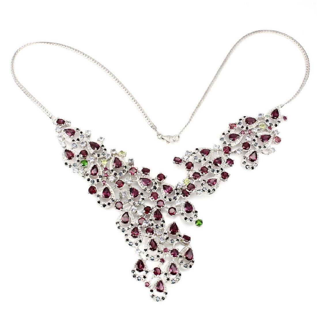 Natural Rhodolite, Tanzanite Ruby Sapphire Necklace - 2