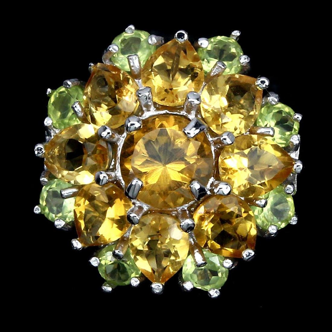 Natural Yellow Citrine Green Peridot Ring
