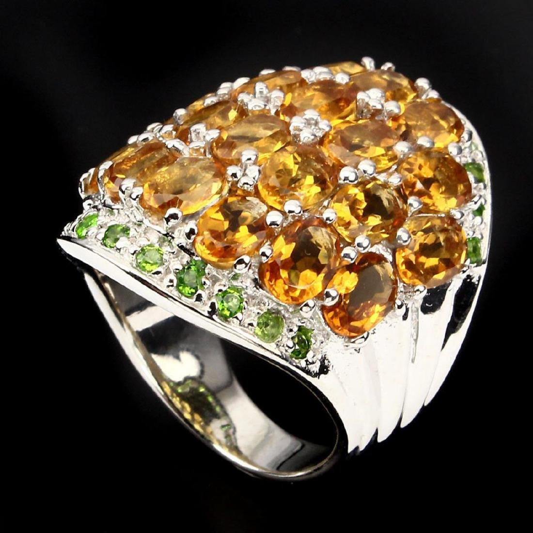 Natural Yellow Citrine Chrome Diopside 82.36 Cts Ring - 2