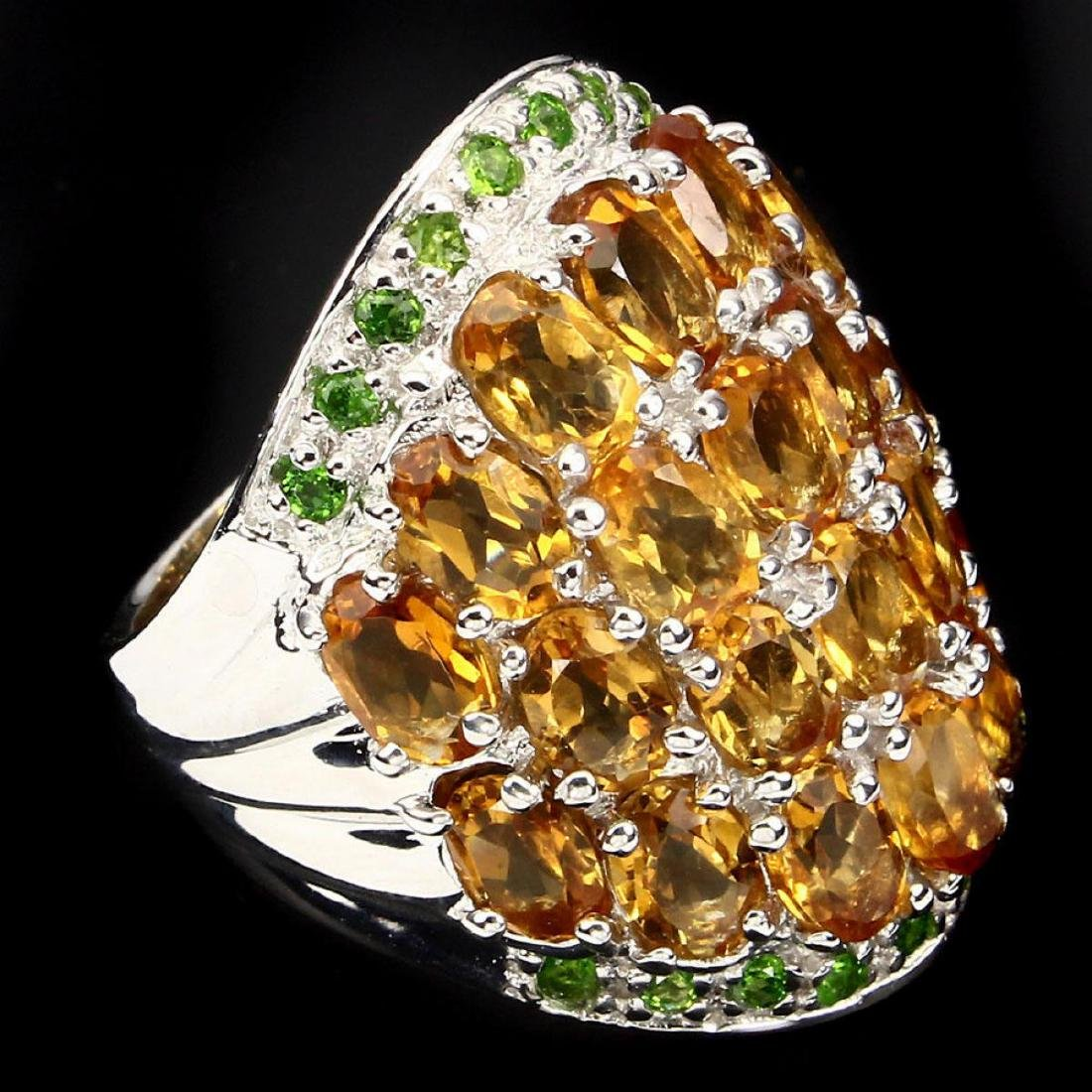 Natural Yellow Citrine Chrome Diopside 82.36 Cts Ring - 3
