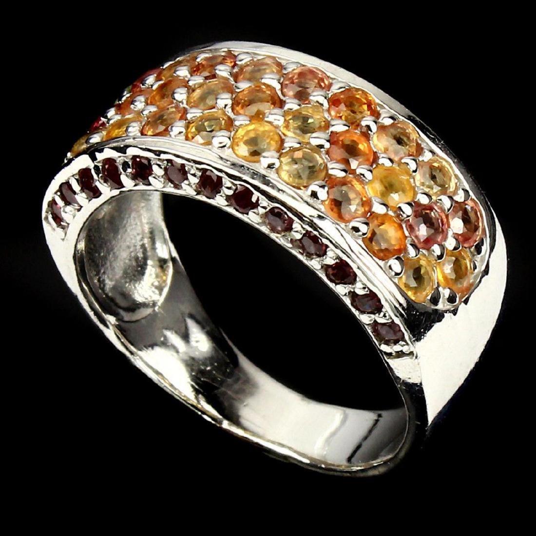 Natural  Fancy Sapphire Rhodolite Garnet Ring