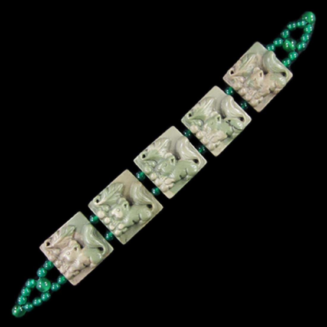 Natural Stone Carved Ribbon Jasper Squirrel Bracelet - 3