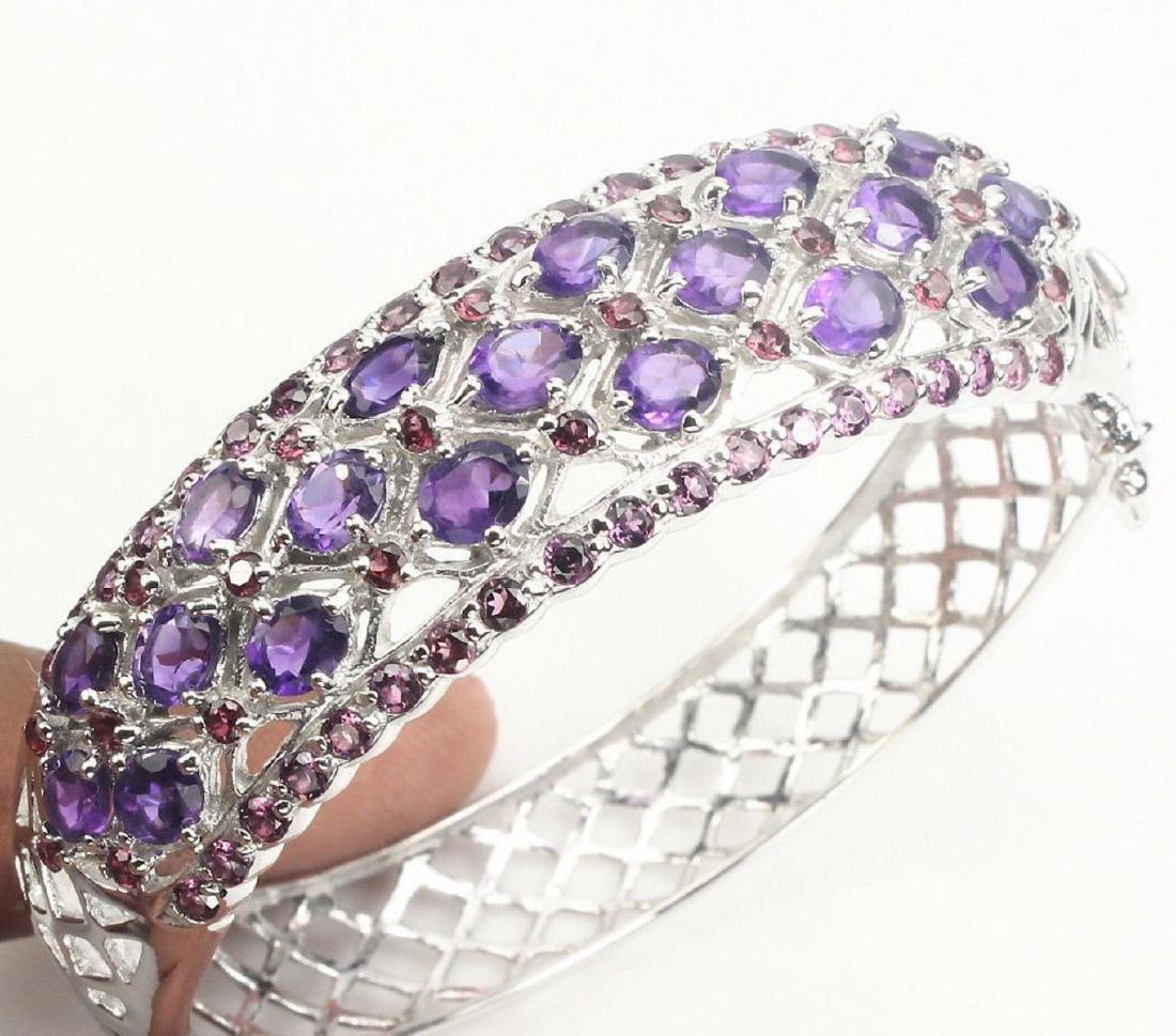 Natural  Intense Purple Amethyst Garnet Bangle - 2