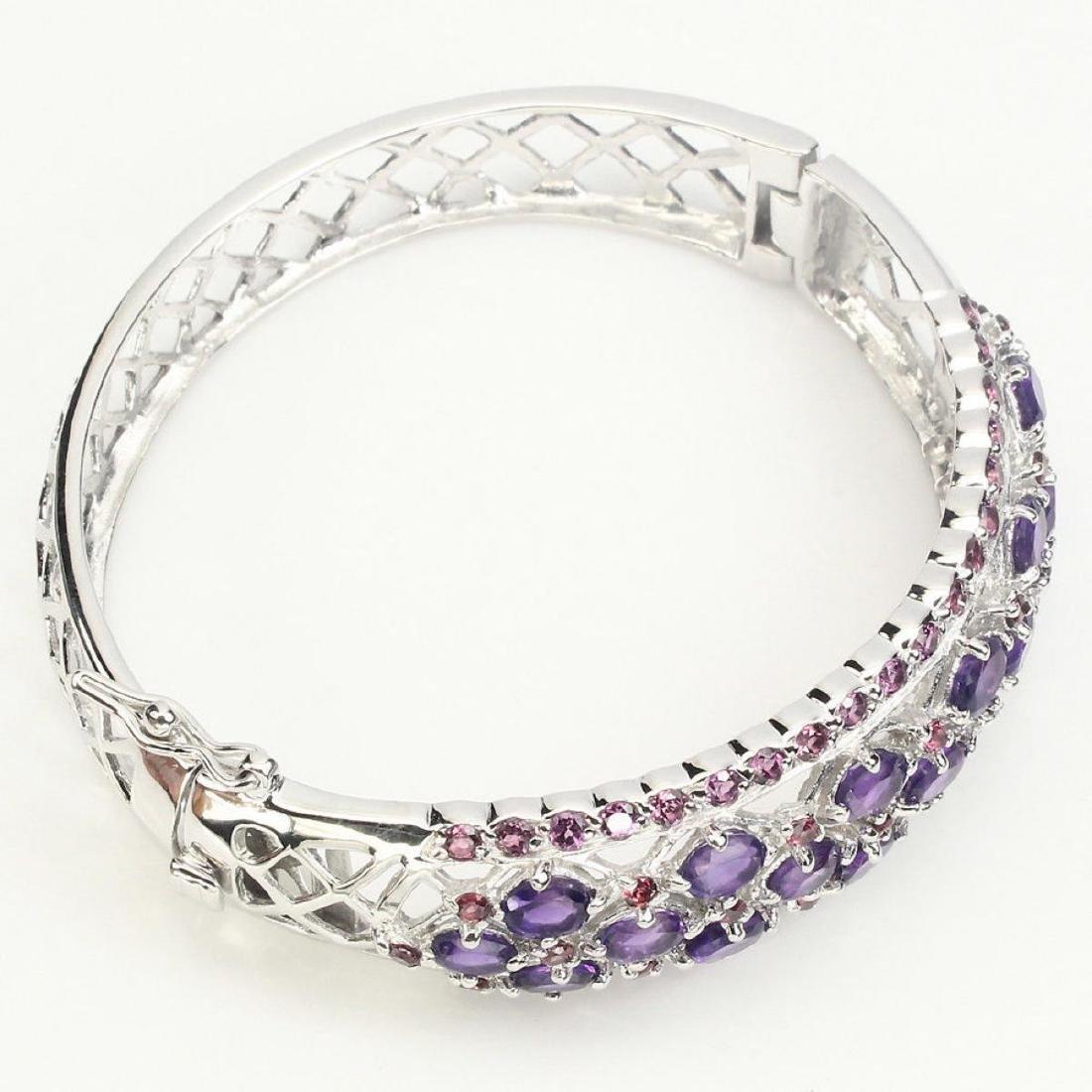 Natural  Intense Purple Amethyst Garnet Bangle - 3