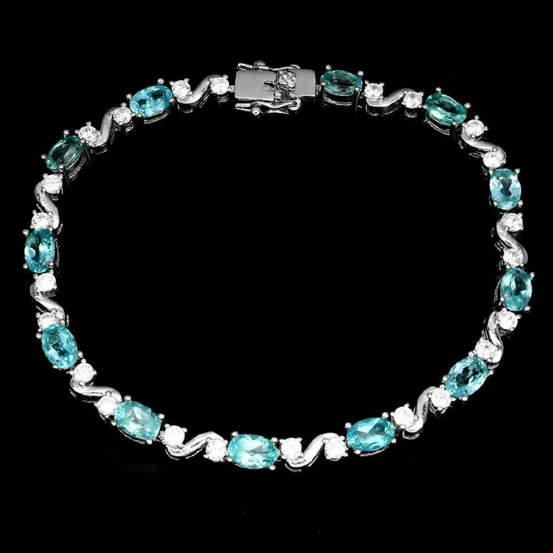 Natural Oval Neon Blue Apatite 60 Carats Bracelet - 2