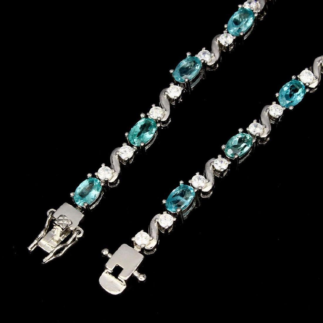 Natural Oval Neon Blue Apatite 60 Carats Bracelet - 3