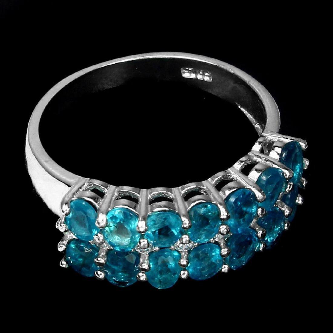 Natural Brazil Neon Blue Apatite Ring - 2