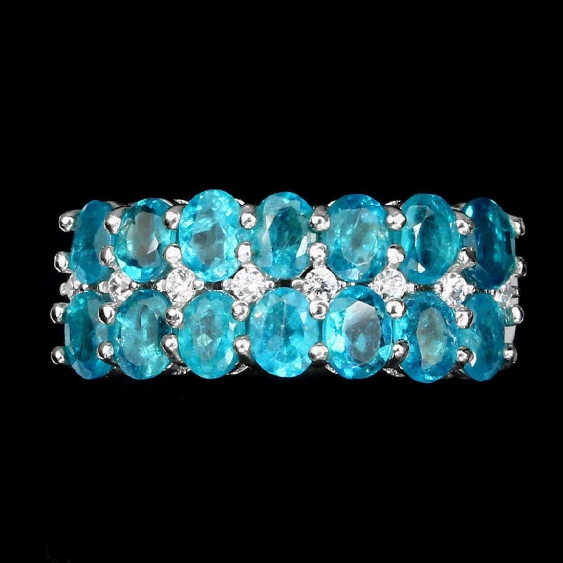 Natural Brazil Neon Blue Apatite Ring - 3