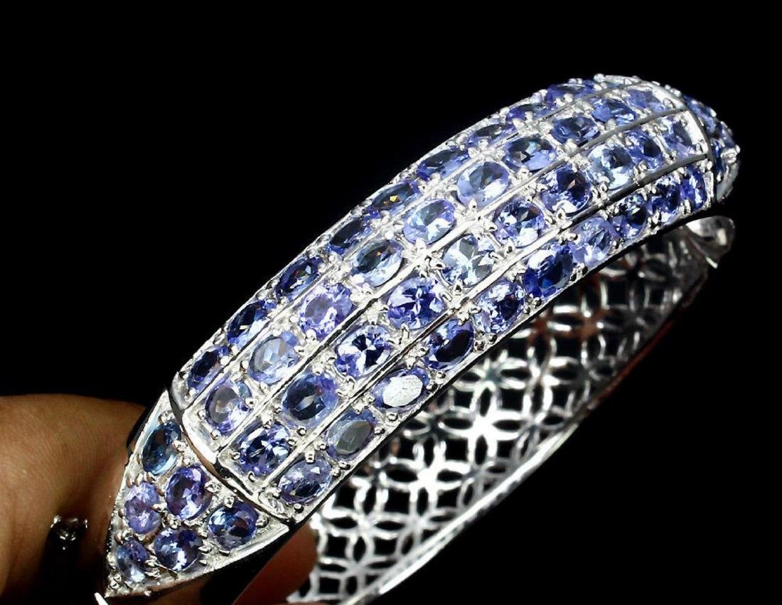 Natural Blue Violet Tanzanite 166.89 Cts Bangle - 2