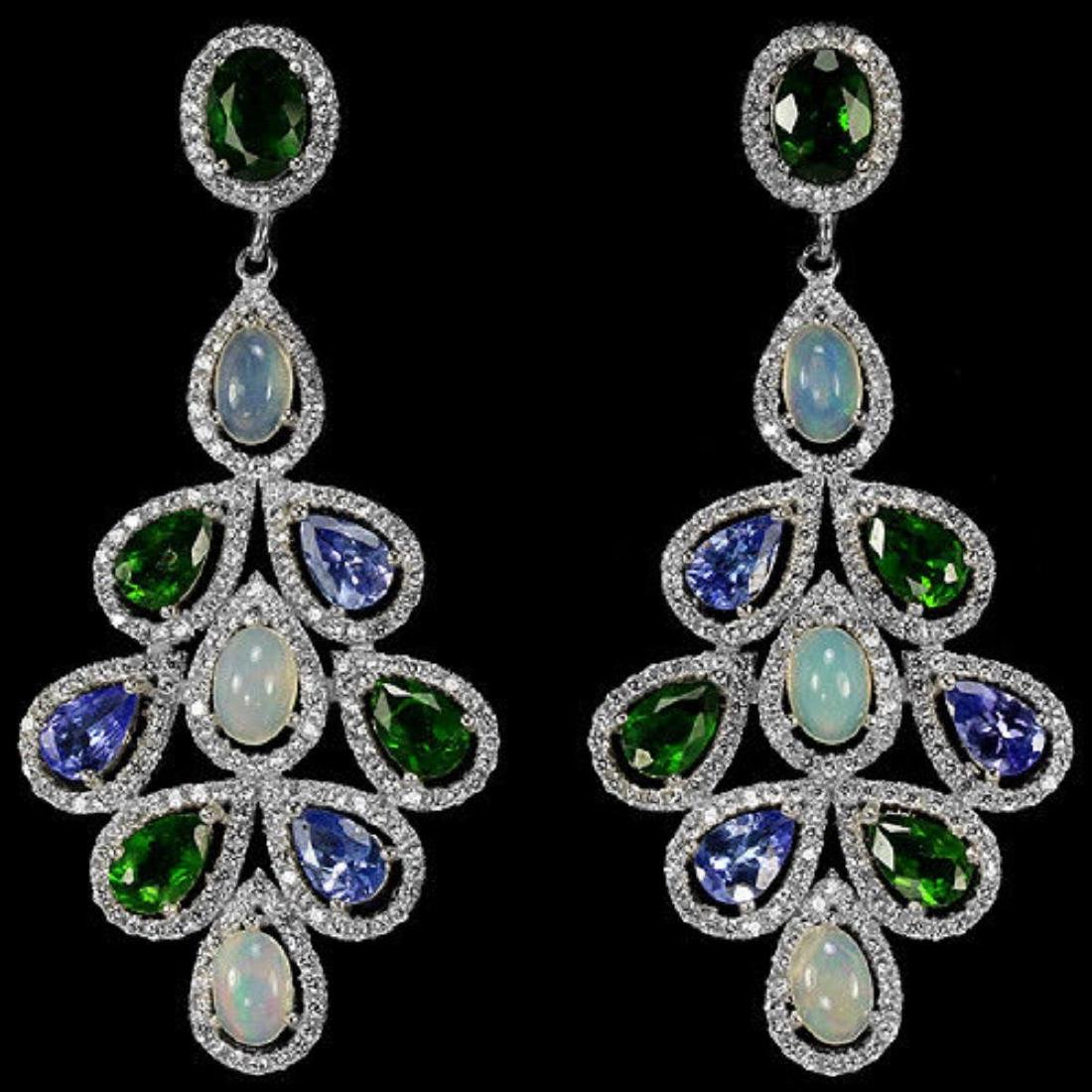 Natural  TANZANITE OPAL CHROME DIOPSIDE Earrings