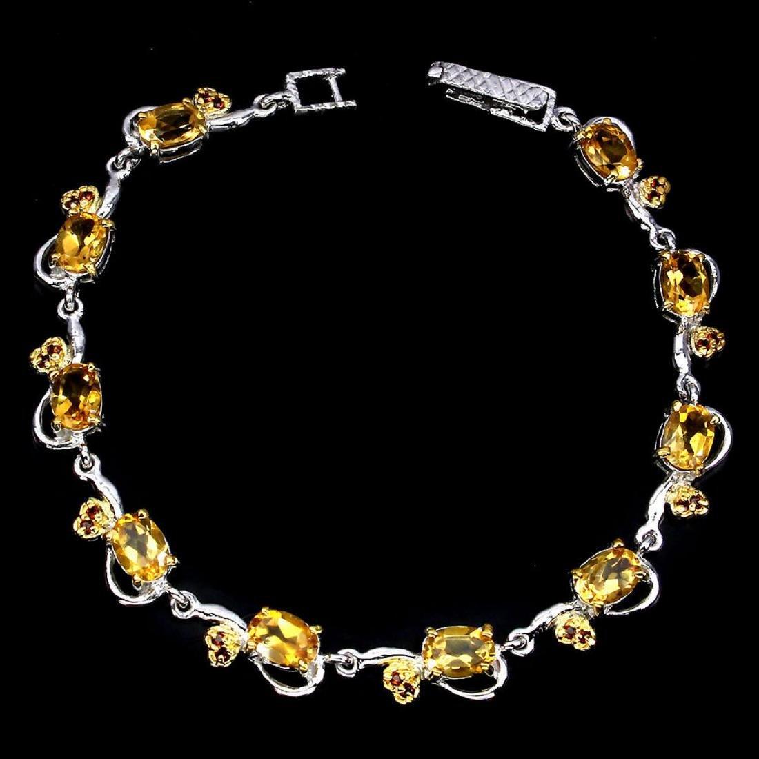 Natural Oval Yellow Citrine Garnet 64 Carats Bracelet - 2