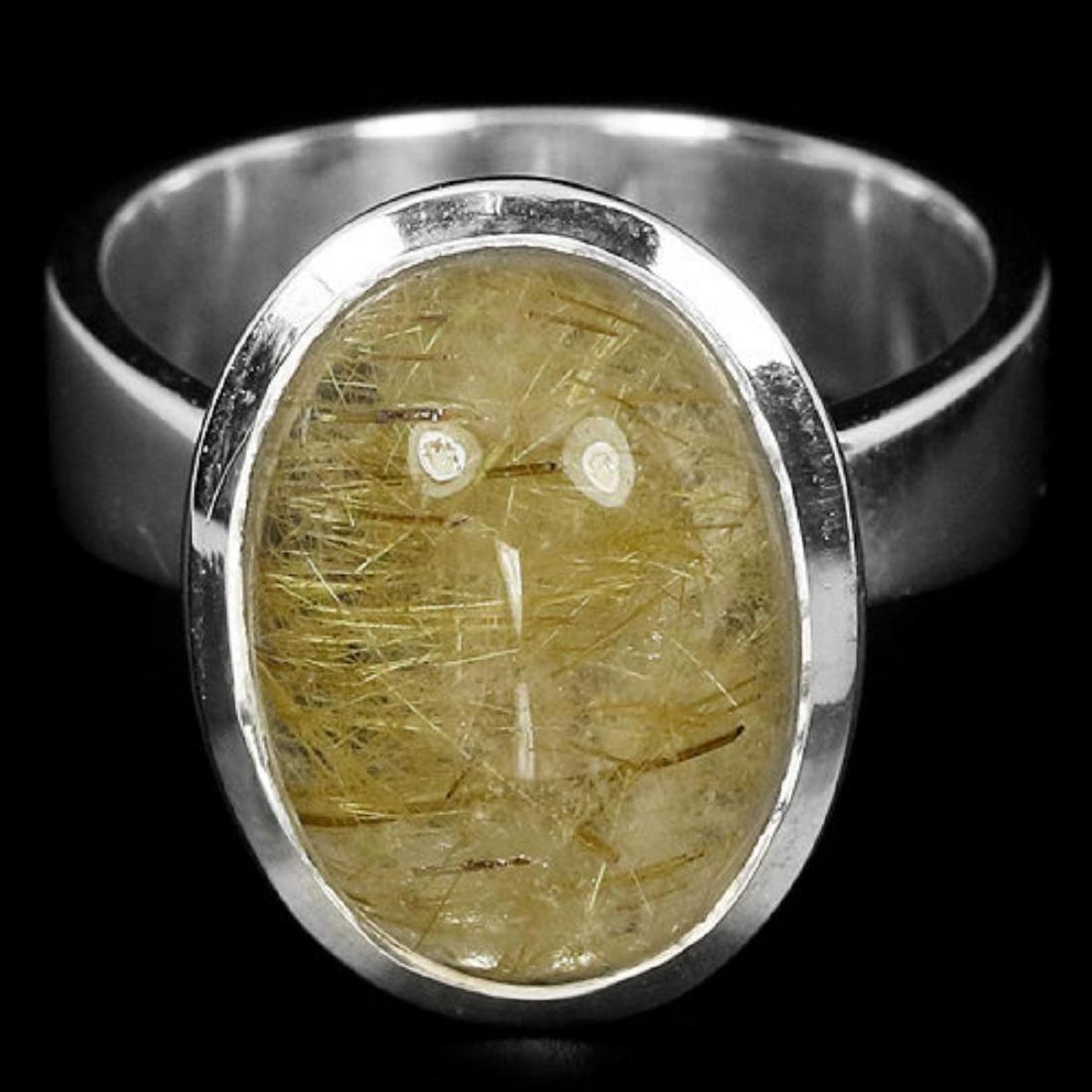 Natural Rutilated Quartz 14 x 10 MM Ring