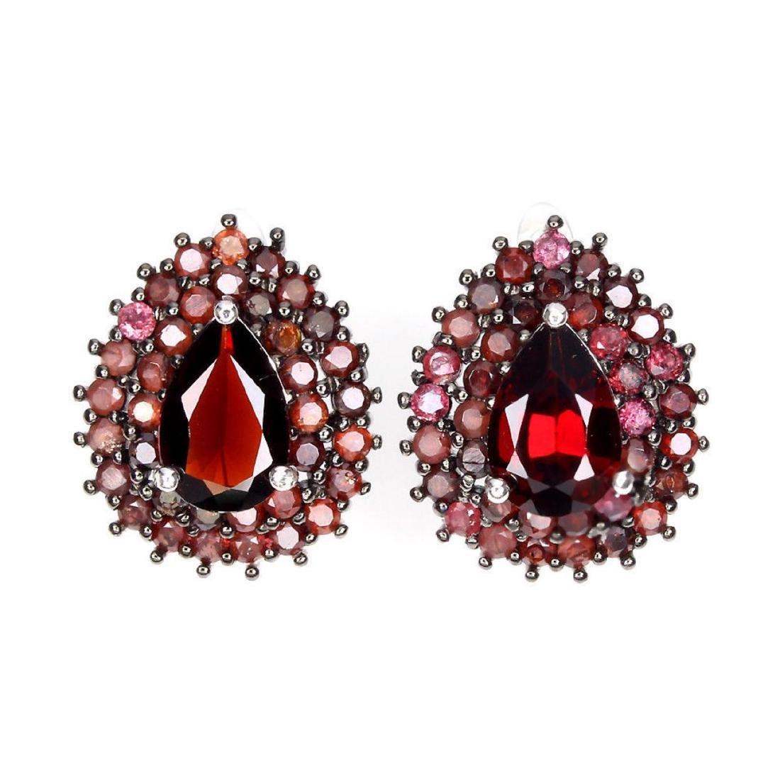 Natural Black Red Mozambique Garnet Earrings