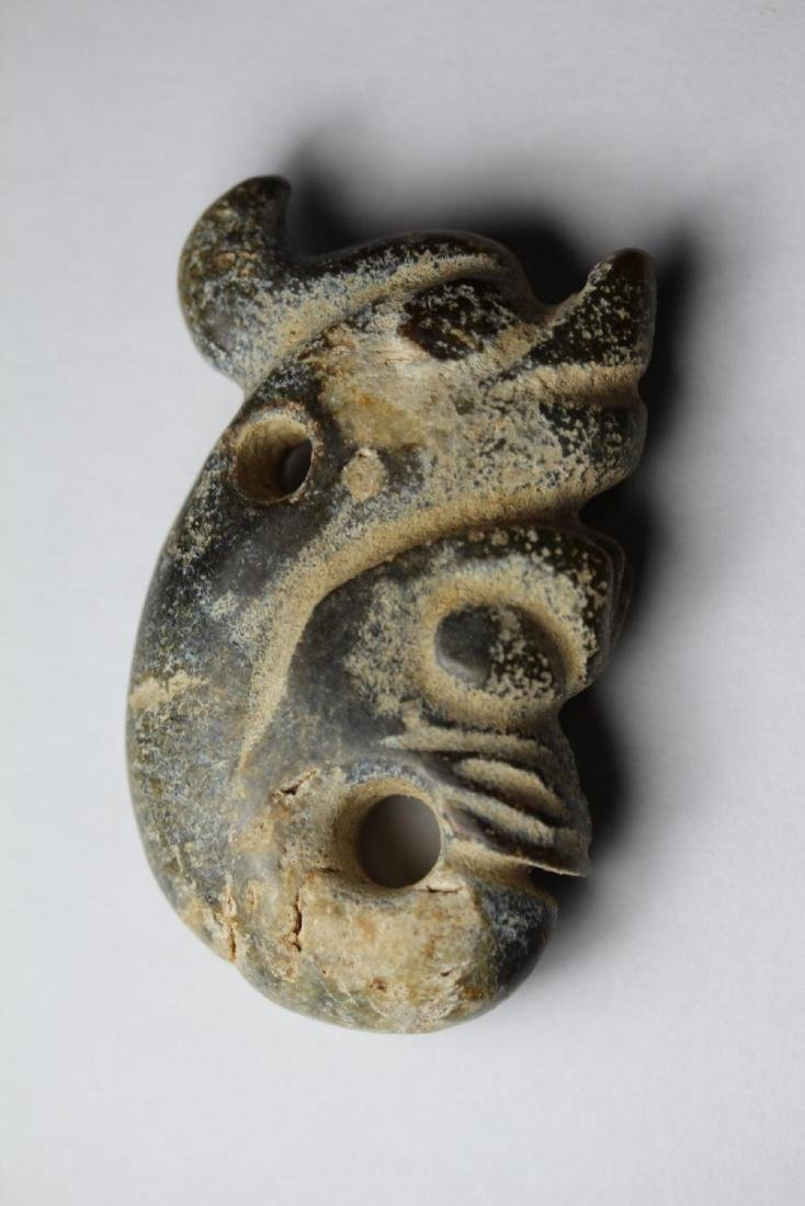 Antique Chinese Jade HongShan Union Pig-Dragon Pendant - 2