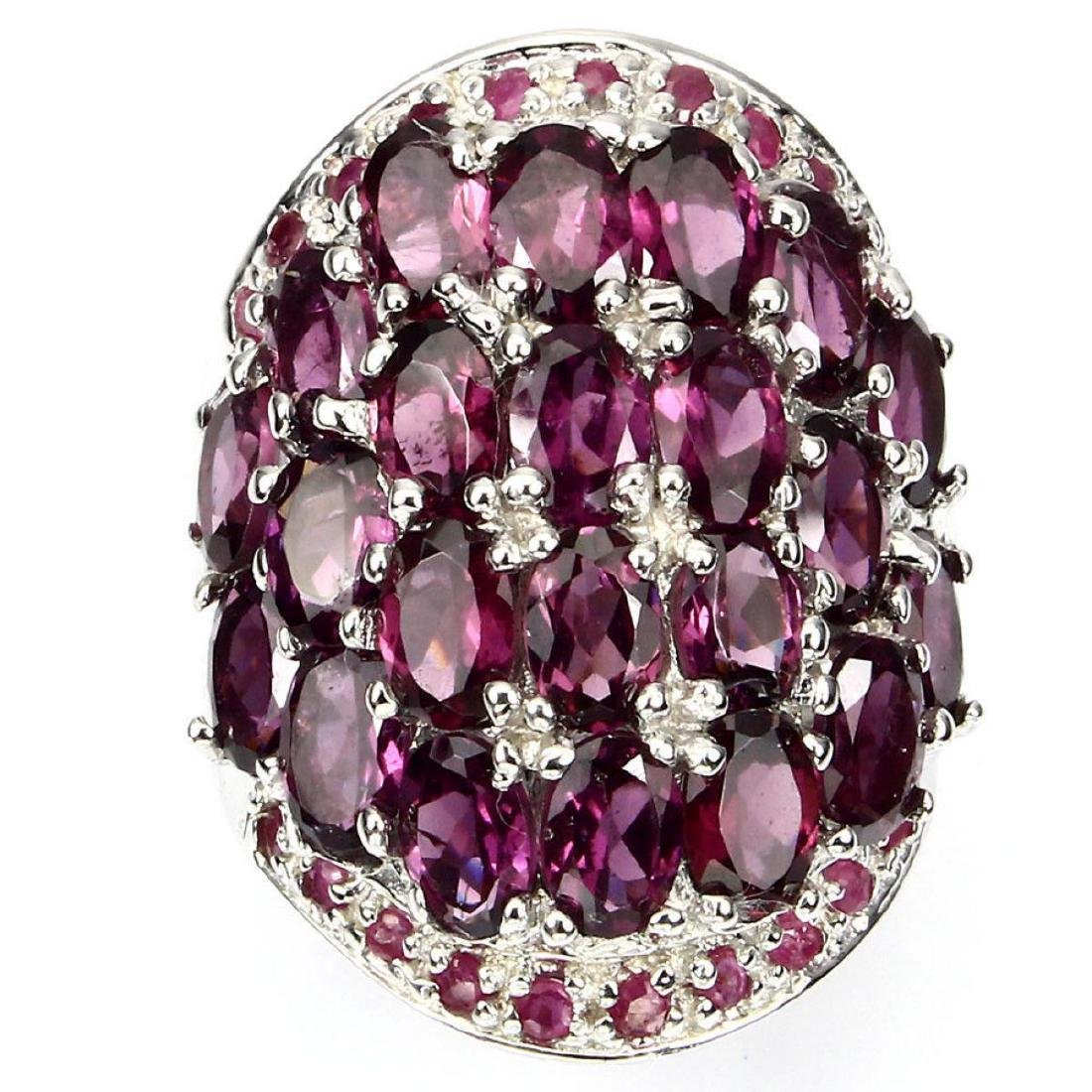 Natural Pink Raspberry Rhodolite Garnet Ruby Ring - 2