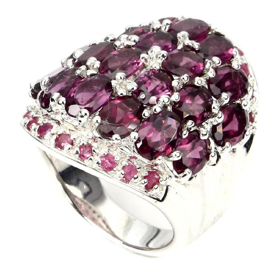 Natural Pink Raspberry Rhodolite Garnet Ruby Ring - 3