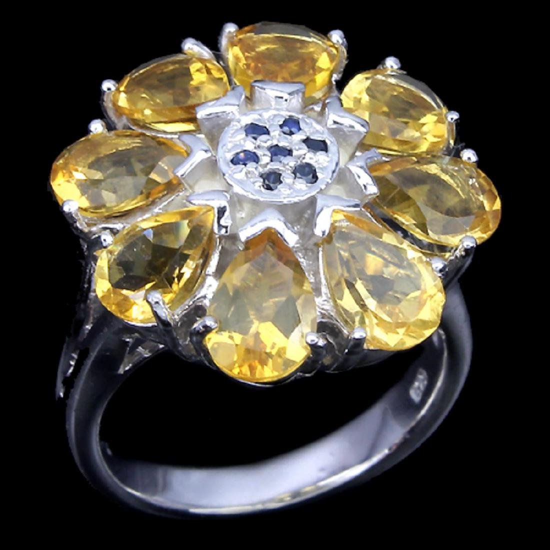 Natural Citrine & Sapphire Ring - 2