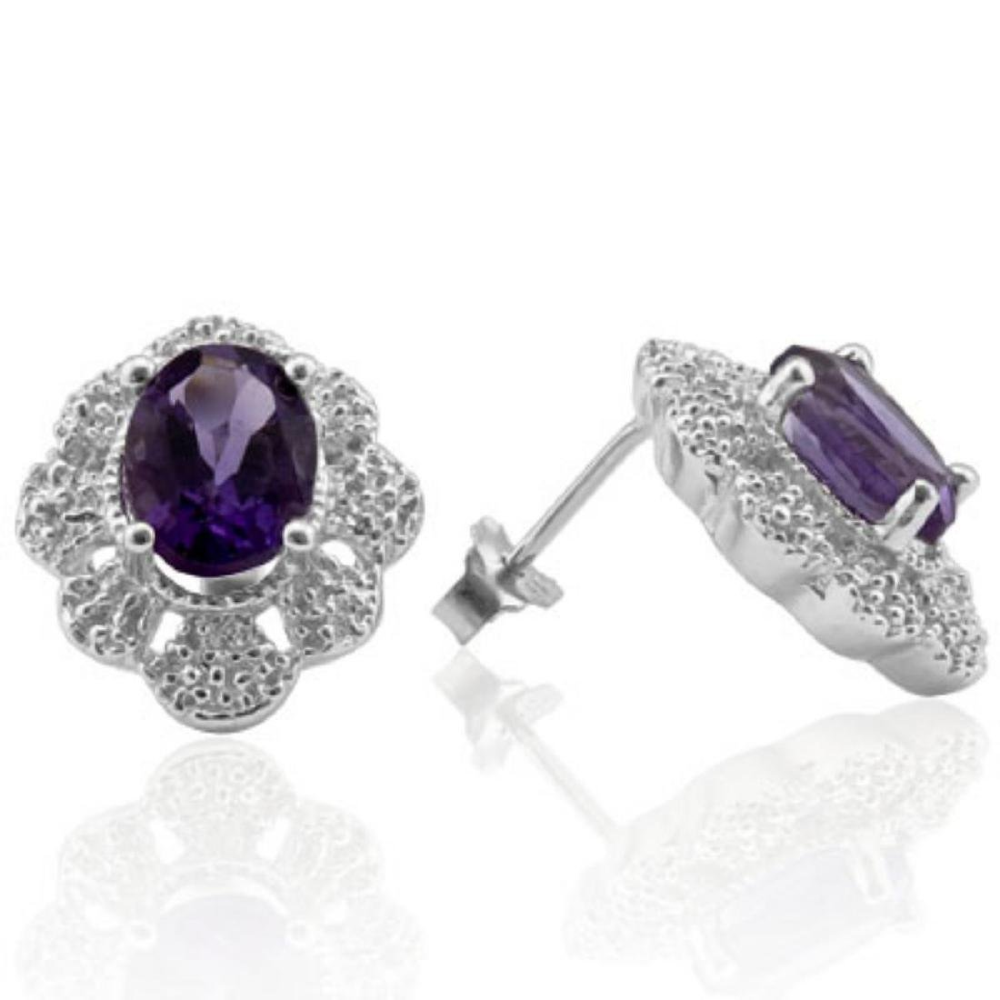 Natural Amethyst & Diamond 2.36 carats Earrings - 2