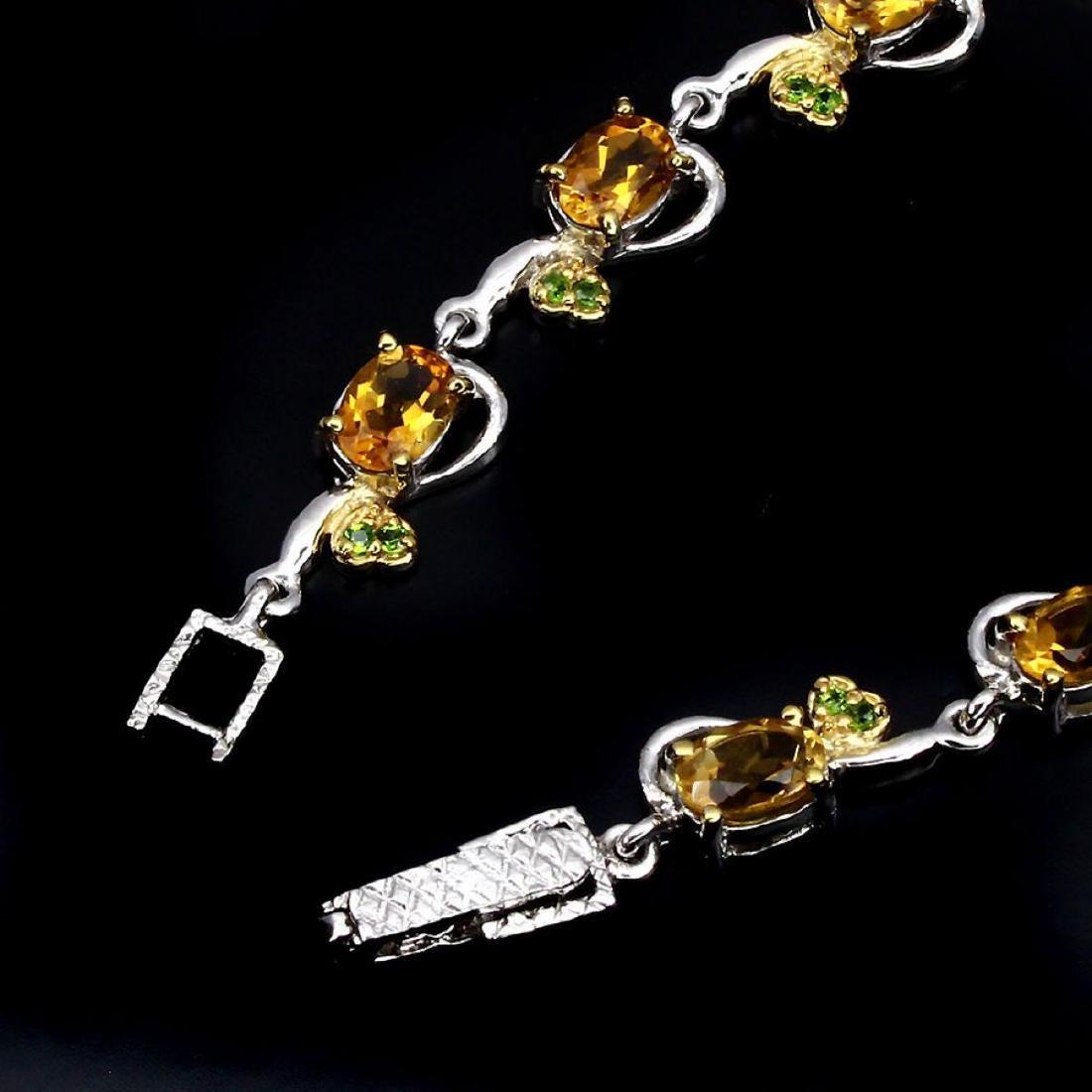 Natural Oval Citrine Chrome Diopside 65 Carats Bracelet - 2