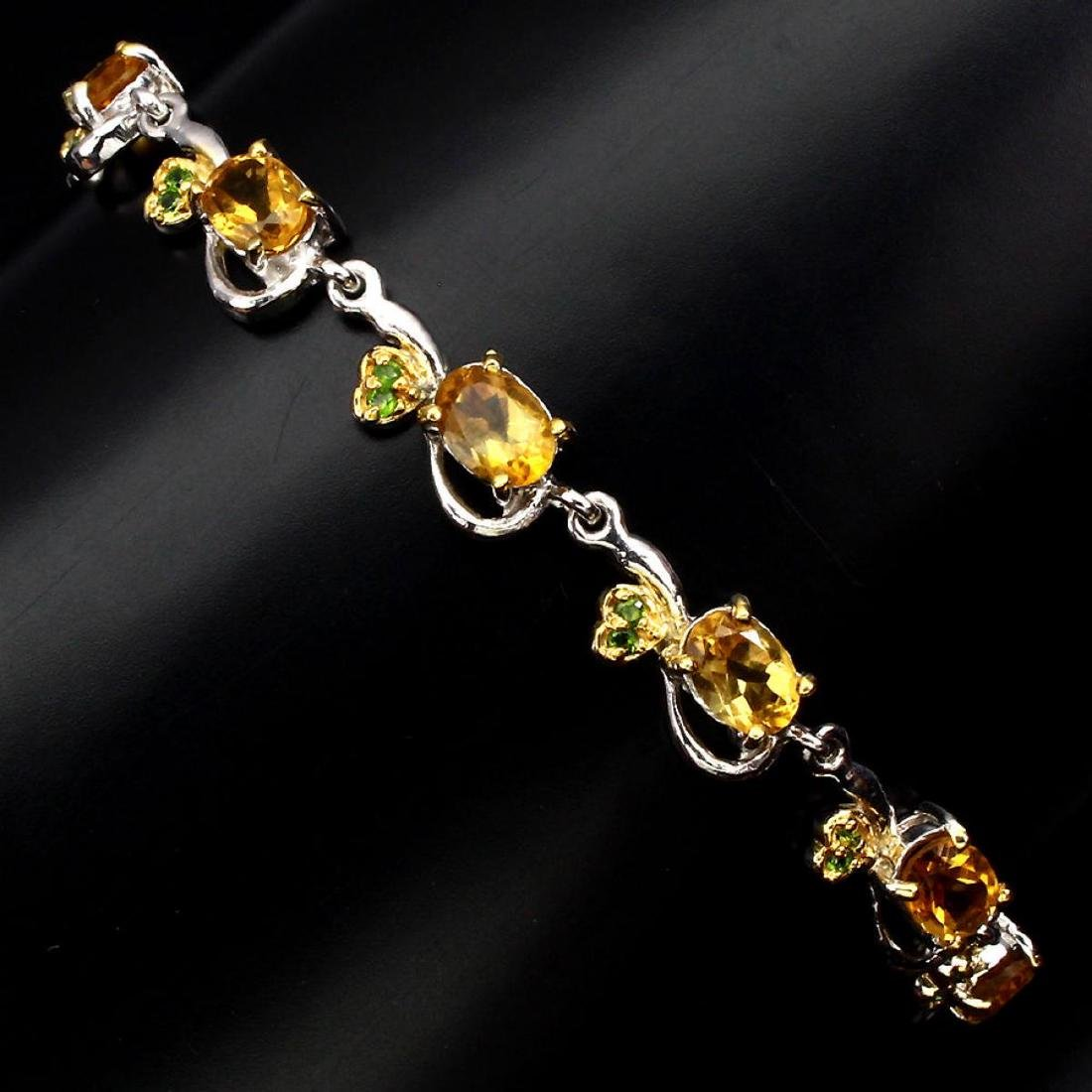 Natural Oval Citrine Chrome Diopside 65 Carats Bracelet - 3