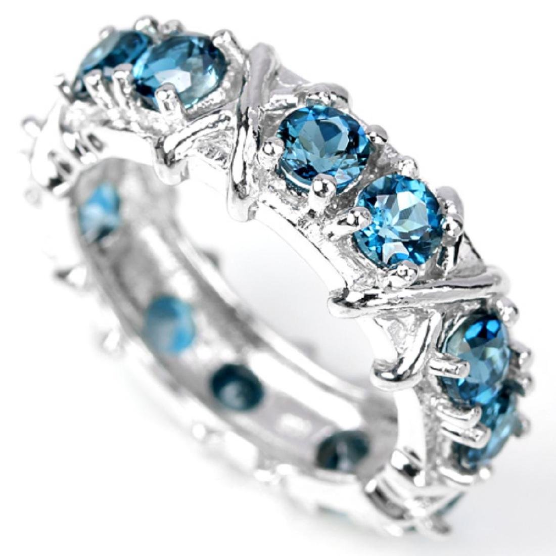 Natural London Blue Topaz Eternity Band