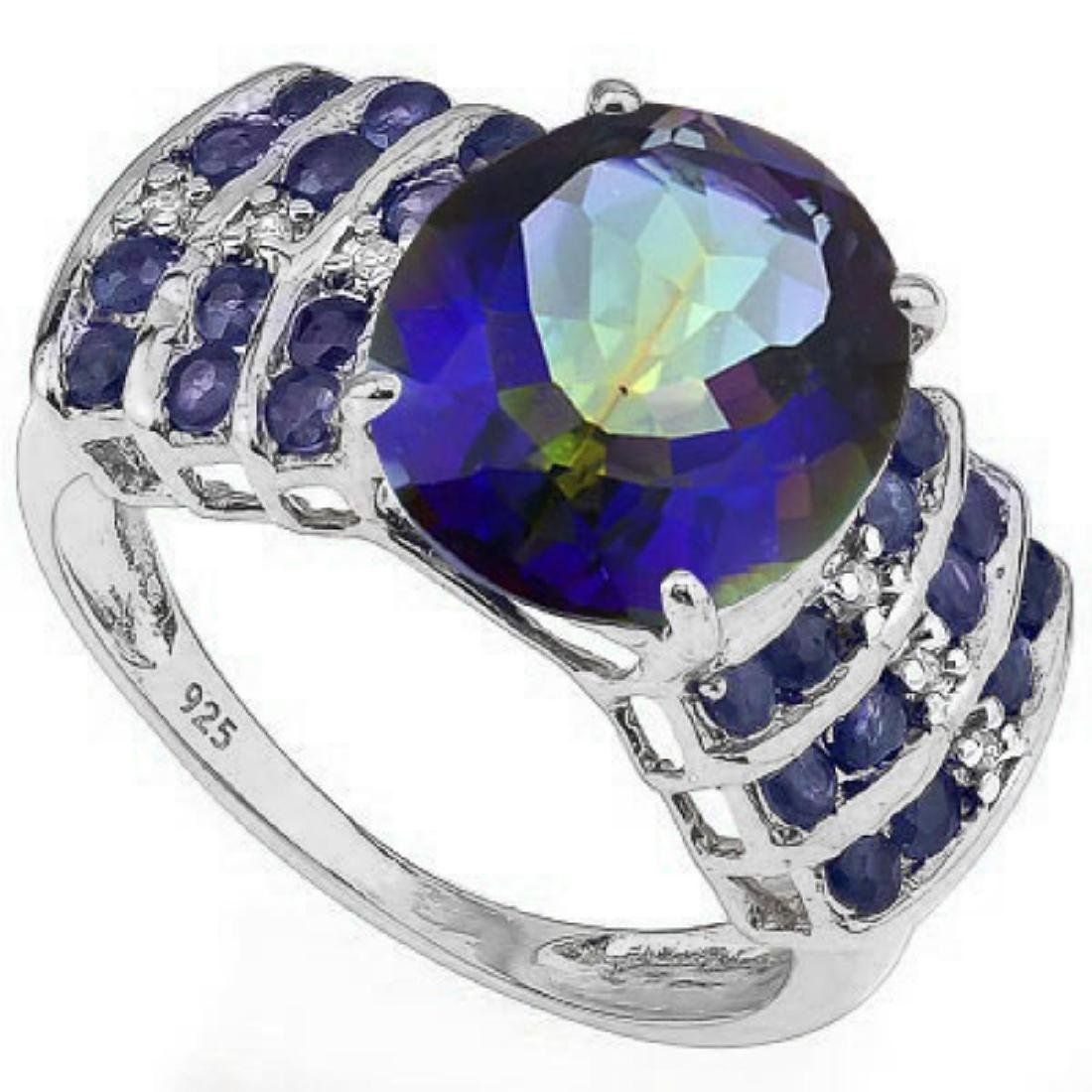 Natural Ocean Mystic Diamond & Sapphire Ring