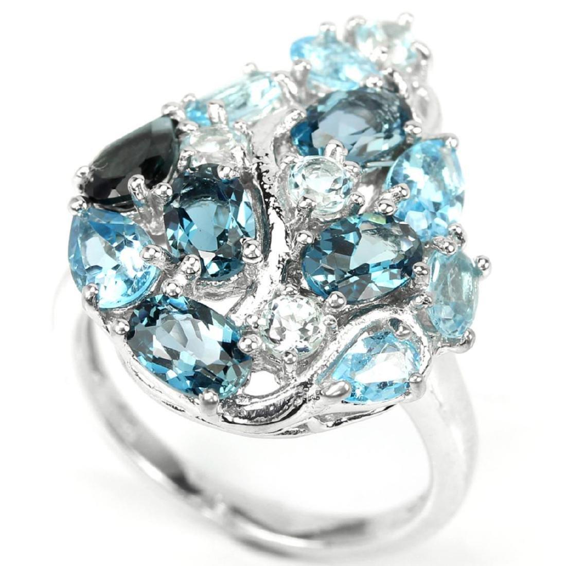 Natural London & Sky Blue Topaz Ring