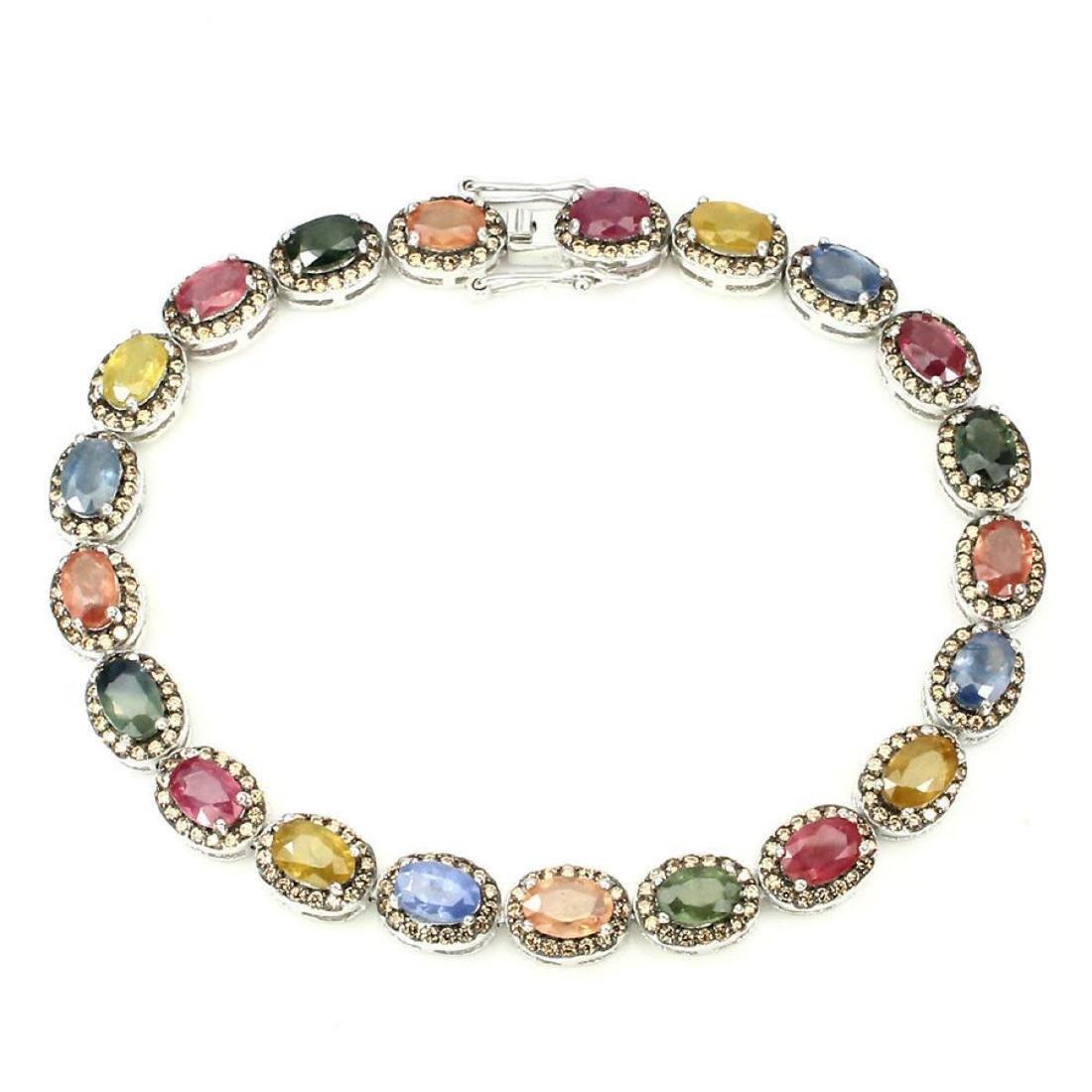 Natural Fancy Color Sapphire 73 Cts Bracelet