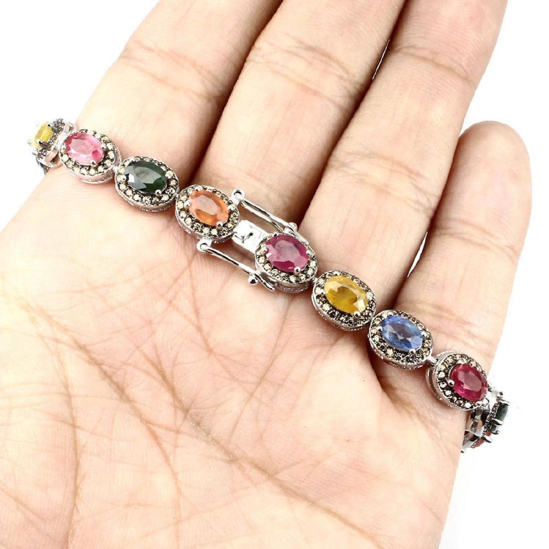 Natural Fancy Color Sapphire 73 Cts Bracelet - 3