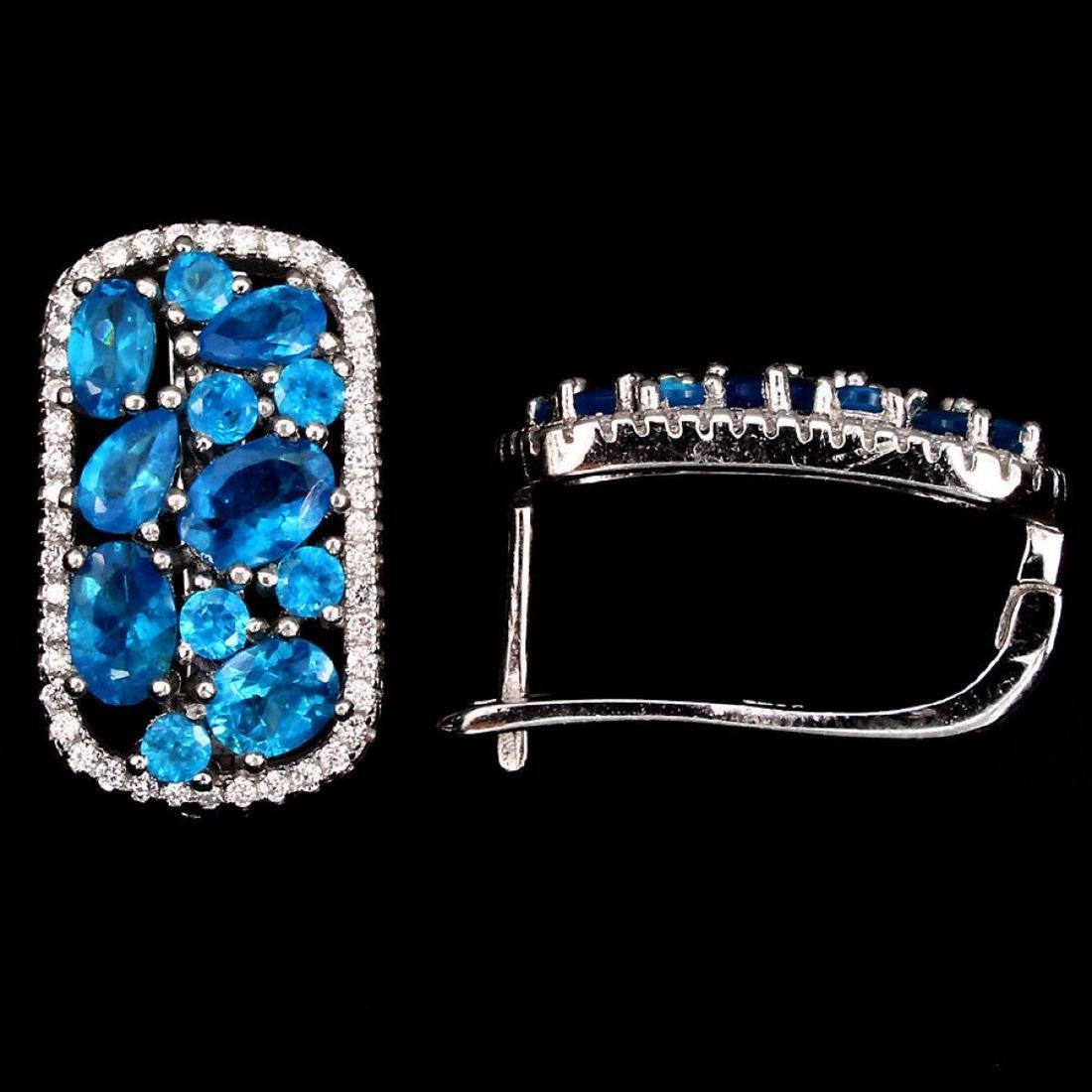 Natural Paraiba Blue Apatite Earrings - 2