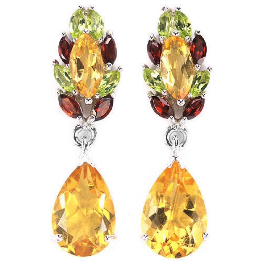 Natural YELLOW CITRINE  Garnet Peridot Earrings