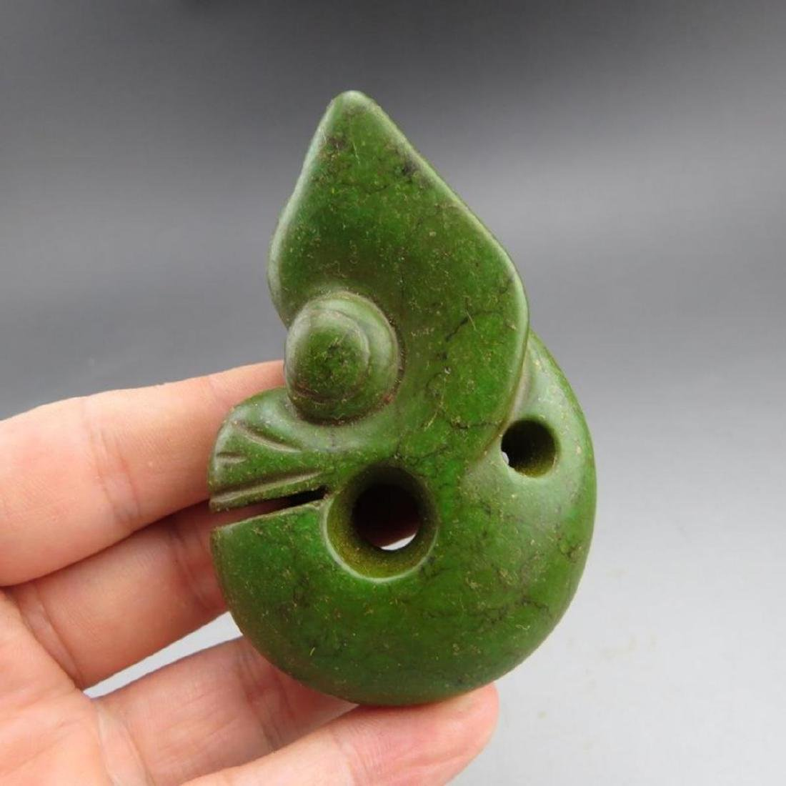 Antique Chinese Jade Hongshan Pig Dragon Pendant - 3