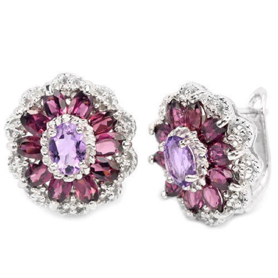 NATURAL AMETHYST & RHODOLITE GARNET Earrings - 2