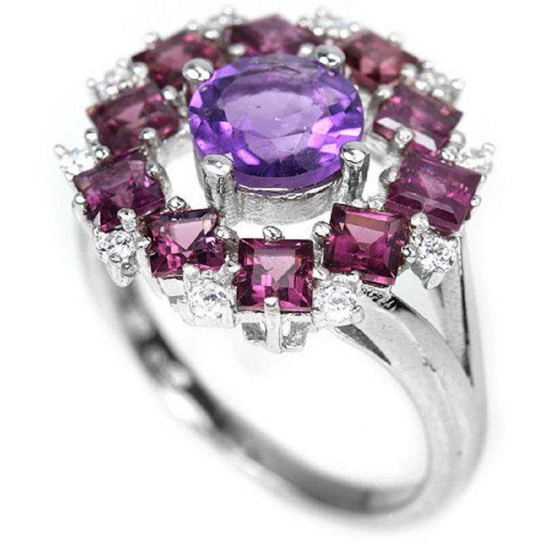 NATURAL AMETHYST, RHODOLITE GARNET Ring - 2