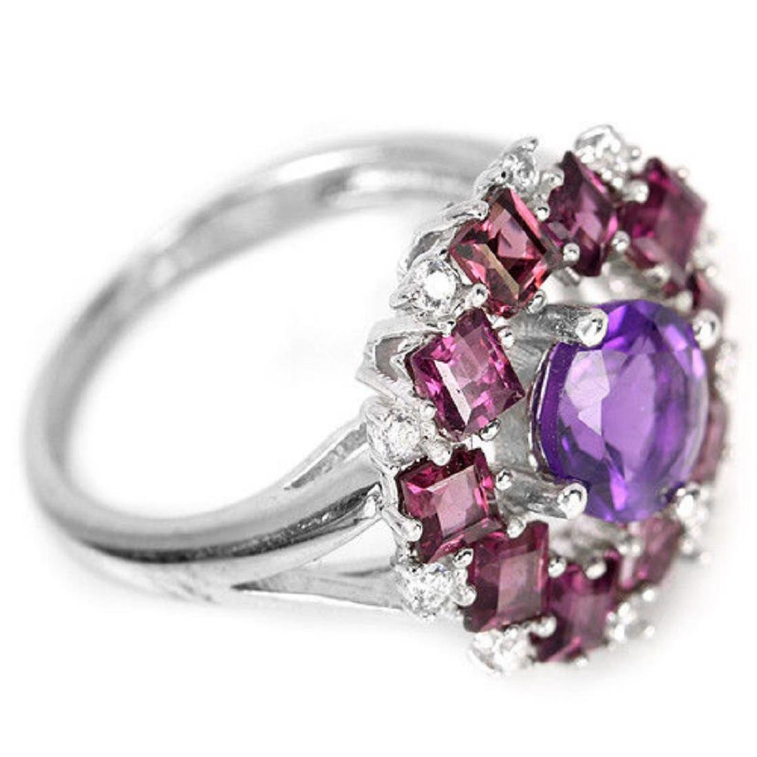 NATURAL AMETHYST, RHODOLITE GARNET Ring - 3
