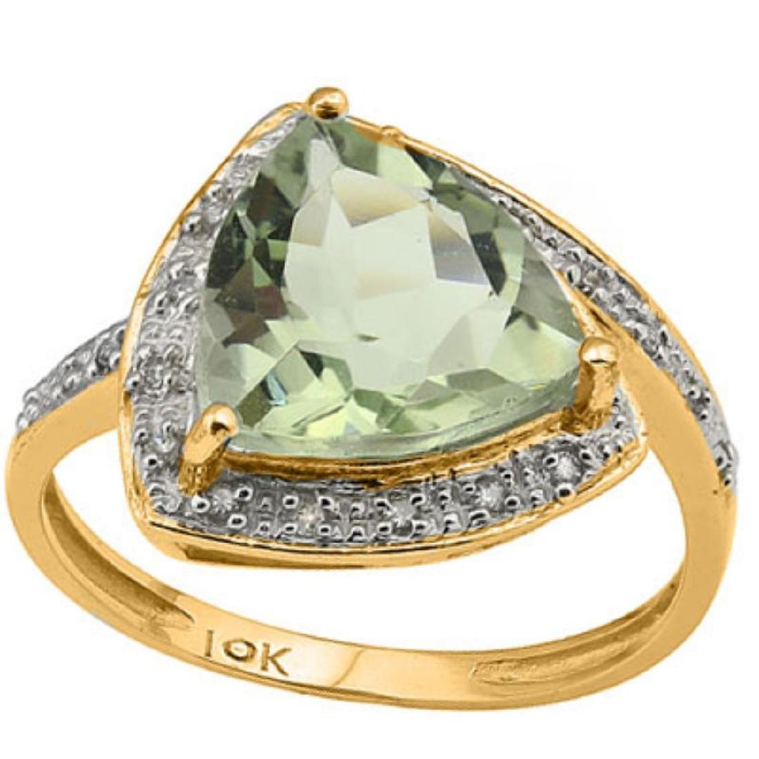Natural Green Amethyst & Diamond Solid Gold Ring