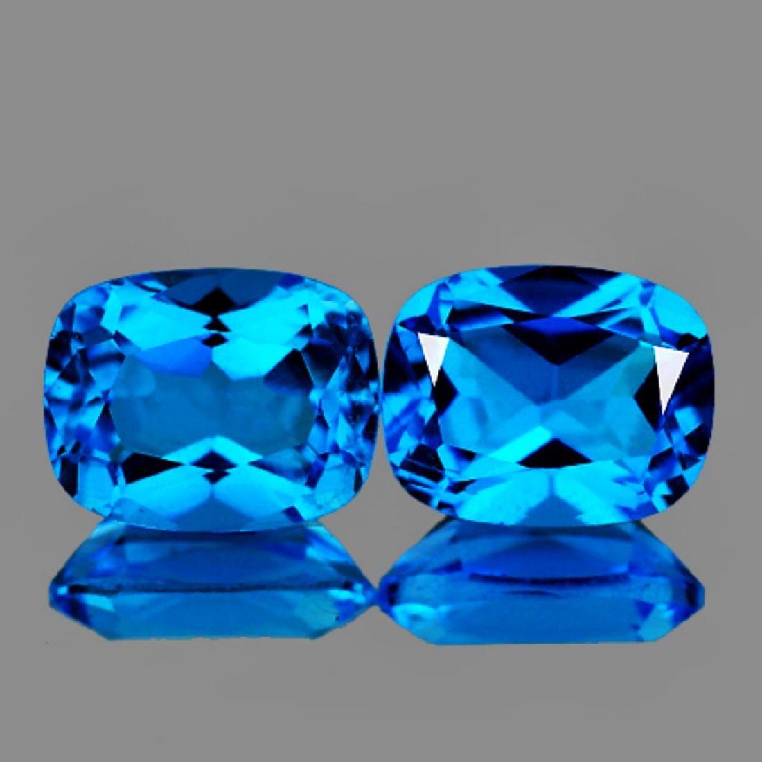Natural Swiss Blue Topaz Pair 8 x 6 MM - FL