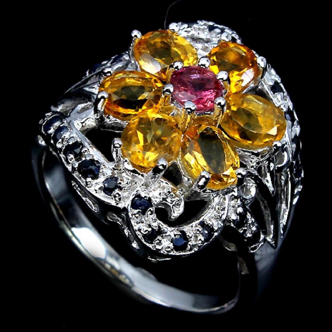 Natural Rhodolite Citrine & Sapphire Ring