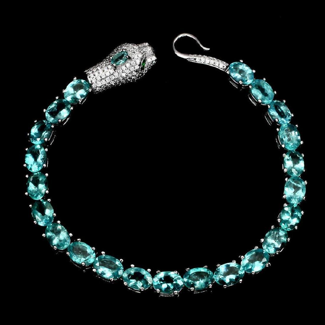 Natural  Neon Blue Apatite Bracelet - 2