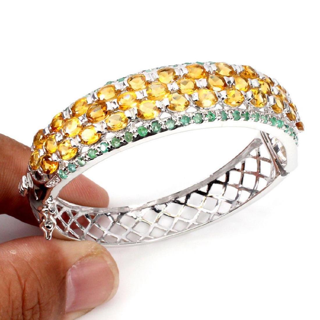 Natural Top Rich Yellow Citrine & Emerald Bangle - 2