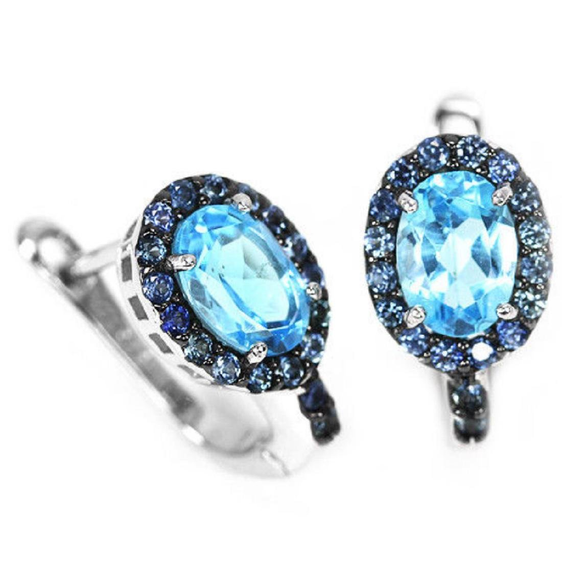 Natural AAA Sky BLUE TOPAZ & SAPPHIRE Earrings