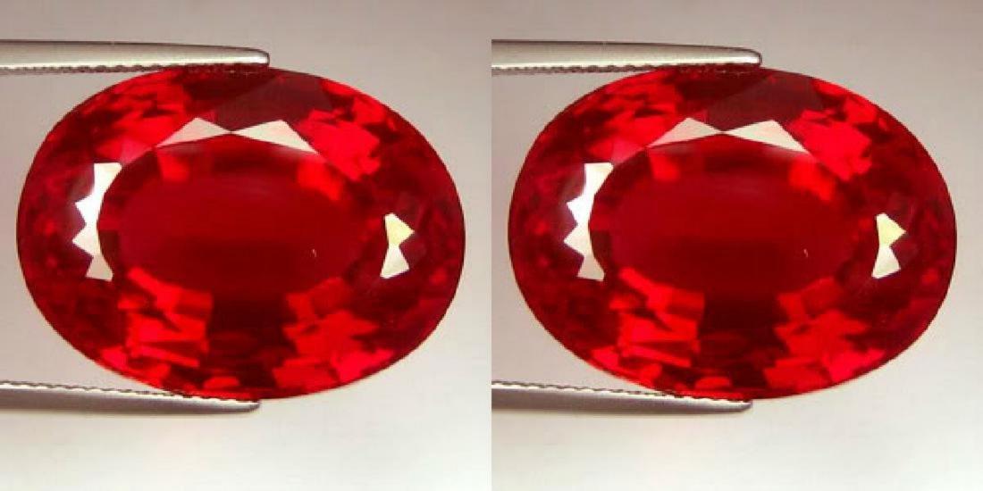 Natural Pigeon Blood/Vivid Red Burma Ruby Pair 0.74 Cts
